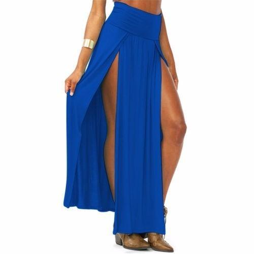 maxi faldas de dama con abertura bohemia crop top