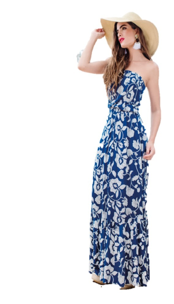 6cec0b6c8 maxi vestido 0649 azul blanco casual playa print flores stop. Cargando zoom.