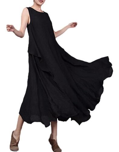 maxi vestido casual mujer retro de algodón lino sólido