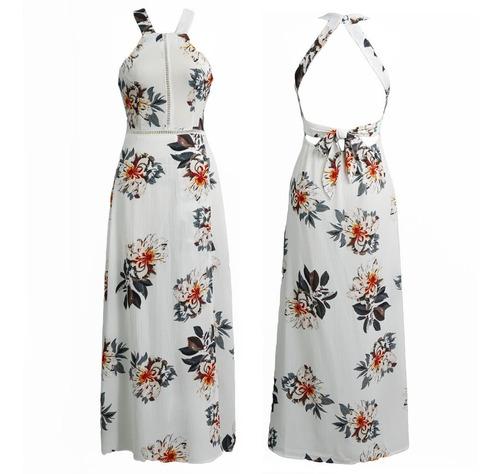 maxi vestido de gasa  floral backless sin mangas de playa