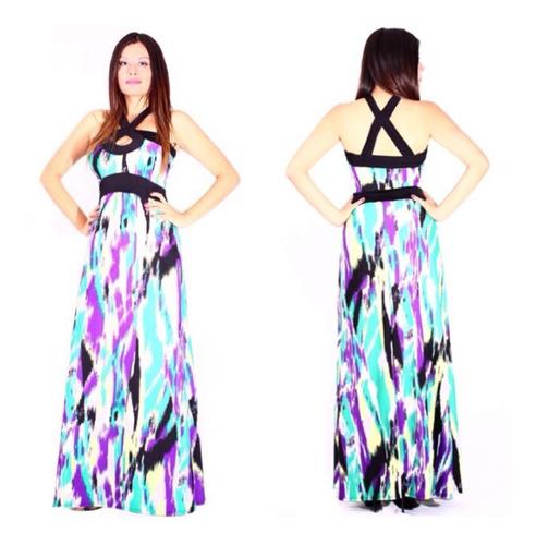 maxi-vestido estampado sarab/ negro-lila