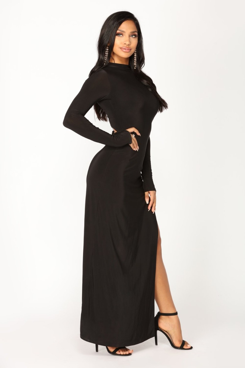 3beaec1cb Maxi Vestido Largo Noche Negro Sexy Fashion Nova Fiesta -   999.00 ...