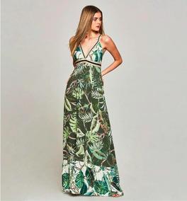 Maxi Vestido Largo Studio F Hermoso Estampado Aro En Espalda