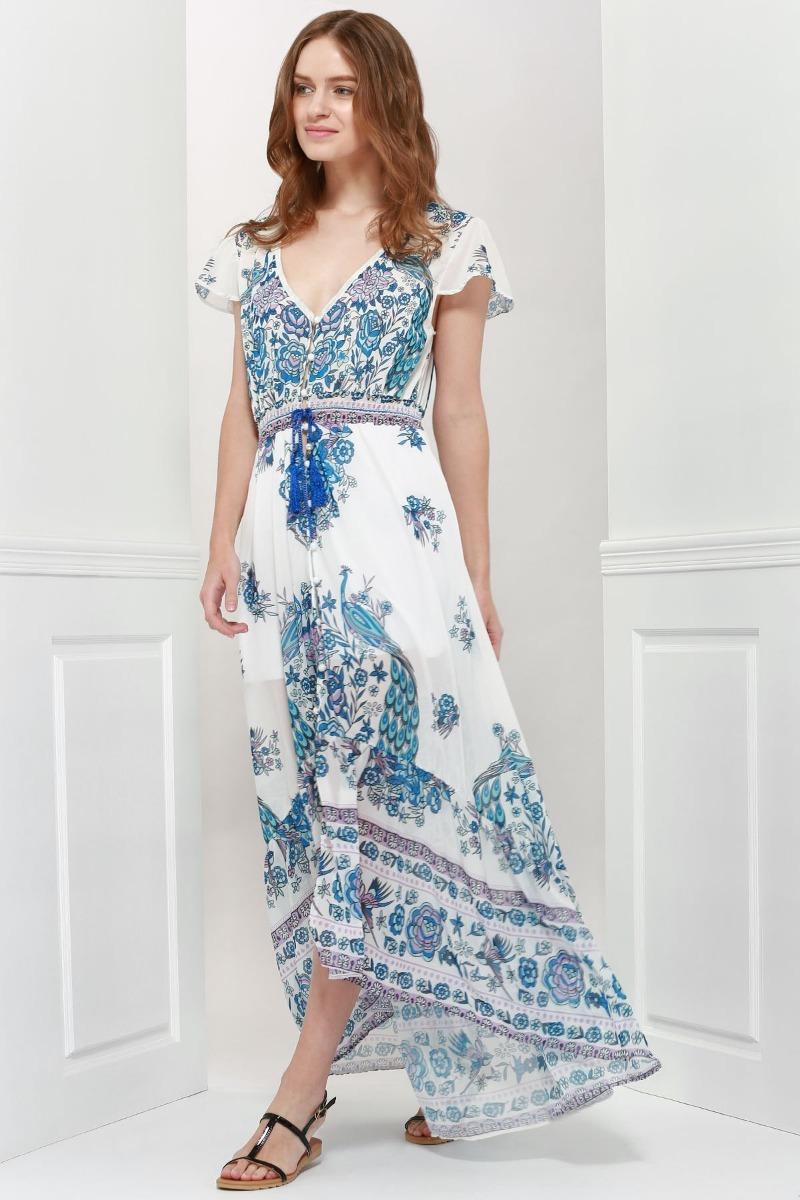 0defdace25 maxi vestido largo verano chiffon estampado geometrico boho. Cargando zoom.