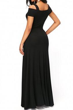 maxi vestido negro elegante de moda ropa dama