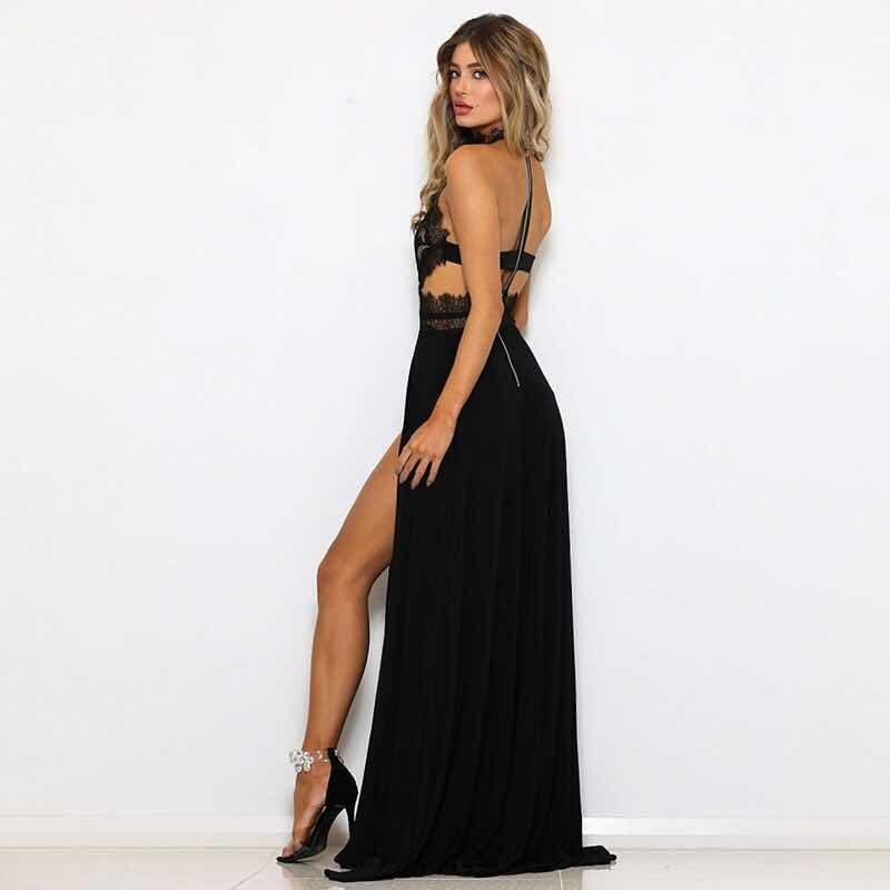 Maxi Vestido Negro Encaje Largo Sexy Fiesta Envío Gratis