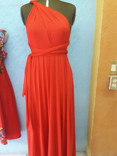 maxi vestido rojo multi estilo