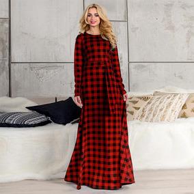 8872bcfc04 Maxi Vestido Tallas Extras Rojo Negro Estampado Cuadros