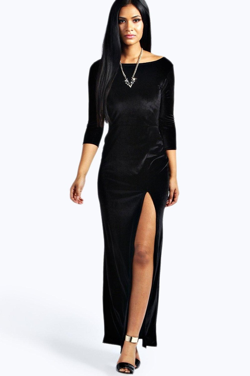 Maxi Vestido Terciopelo Casual Sexy Noche Gotico Fiesta - $ 599.00 ...