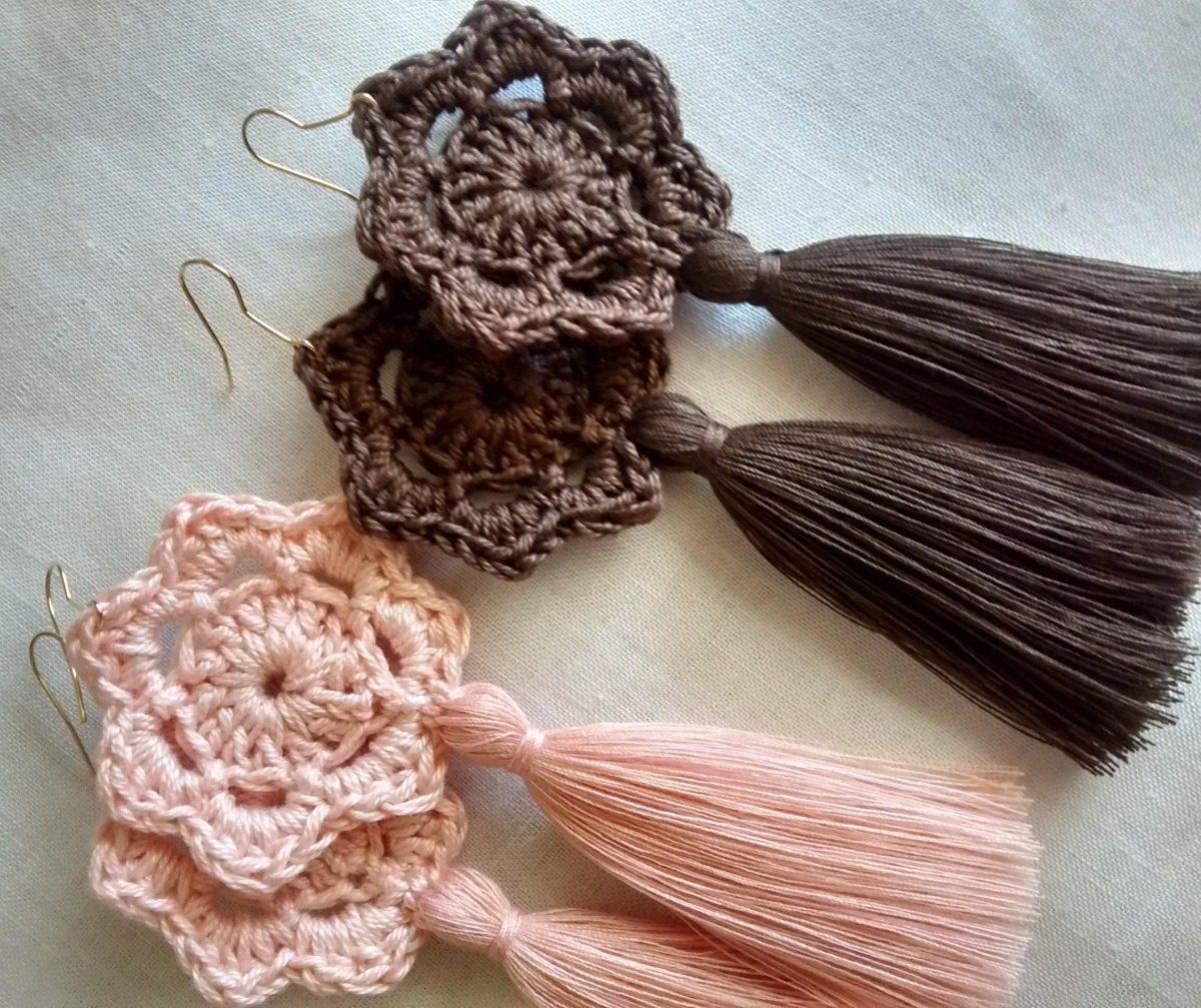 50e659cf6f45 Maxi Zarcillo Borla Pompón Flor Tejido Crochet Moda 2019 - Bs. 4.900 ...