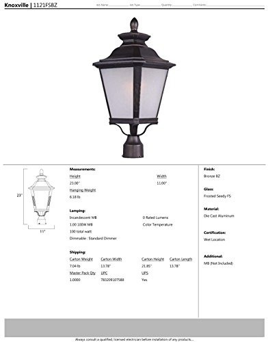 maxim lighting 1121 knoxville outdoor pole/post mount lanter