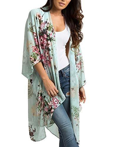 maybuy kimono largo de gasa estilo bohemio para mujer, talla