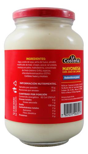 mayonesa la costeña red en grasa 385 gr