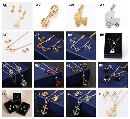 mayoreo 10 piezas,juegos de acero inoxidable, collar, aretes
