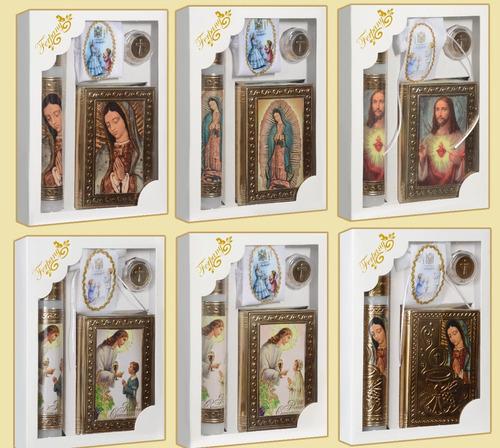 mayoreo kit primera comunion en repujado biblia vela rosario