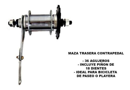 maza trasera contra pedal - 36 agujeros - bicicleta playera