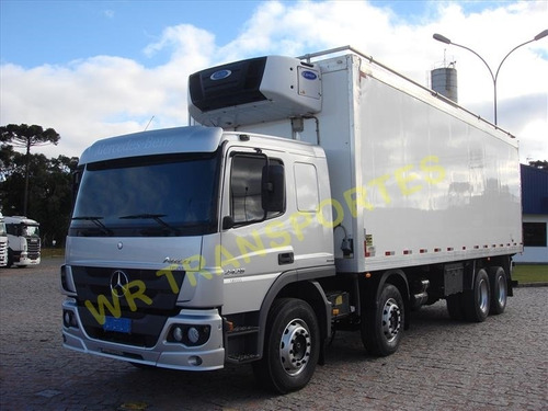 mb atego 2426, 2014, 8x2, bi-truck, refrigerado, impecável
