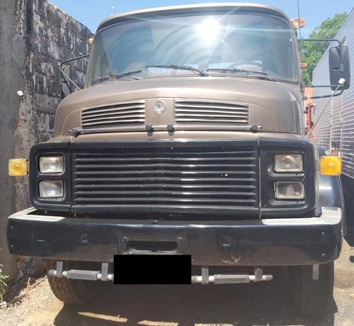 mb l 1313 - 83/83 - truck, carroceria de madeira, marrom