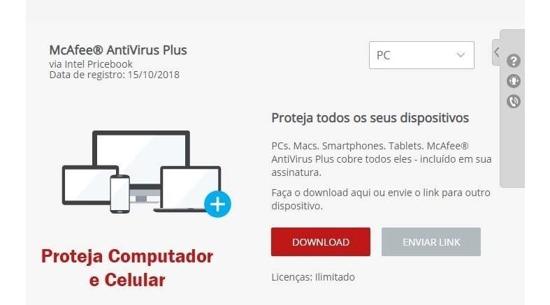 Mcafee Antivirus Plus 2019 50 Pcs Original 1 Ano De Licença