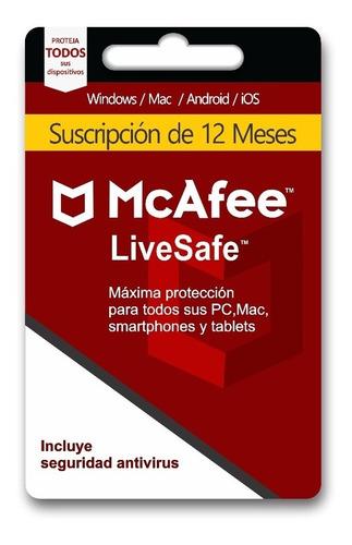 mcafee live safe 1 año equipos ilimitados