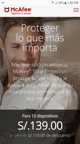 mcafee total protection 2018- para 10 pc - 1año