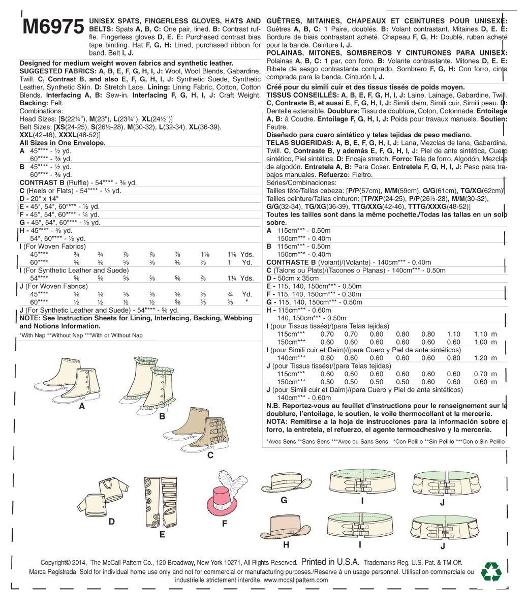 Mccall Pattern Company M6975 Espalda / Gaitors, Guantes Sin ...