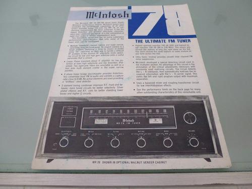 mcintosh / mr 78 / fm tuner / folleto manual de propietario