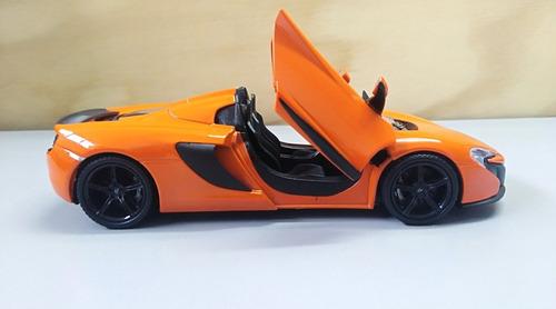 mclaren 650s spider naranja escala 1:24, 18cms largo metal.
