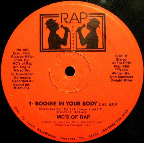 mc's of rap    12 single   boogie in your body