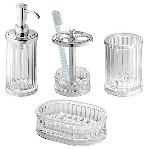 Mdesign acr lico de accesorios de ba o conjunto jab n for Conjunto de accesorios de bano