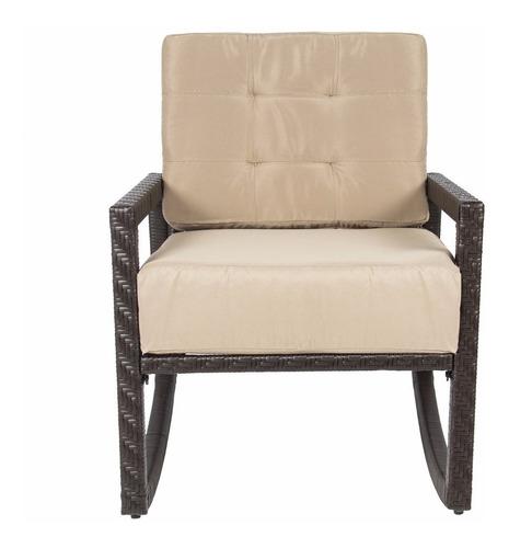 mecedora patio mimbre tejido silla acolchonada premium