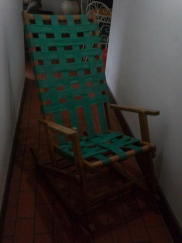 mecedora plegable madera curada (años 60)