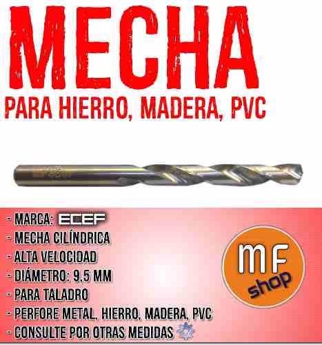 mecha cilindrica alta velocidad 9,5 mm hierro metal madera