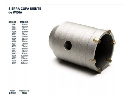mecha sierra copa 110 mm hormigon widia m22