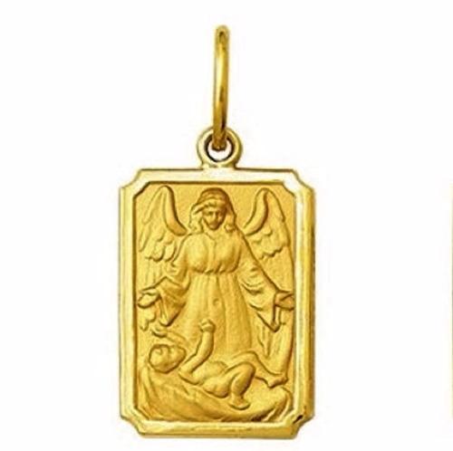 medalha 1,9 cm anjo da guarda ouro 18k pingente