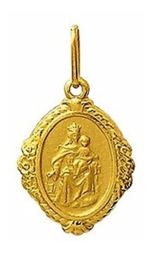 medalha 2.2cm nossa sehora do carmo ouro 18k pingente
