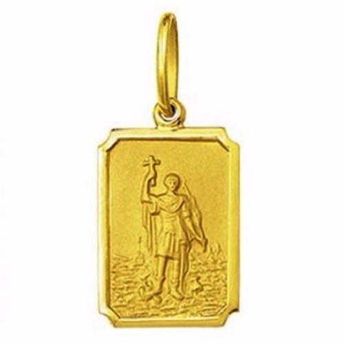 medalha 2,4cm santo expedito ouro 18k pingente quadrada