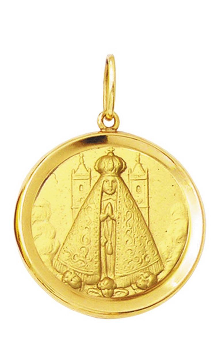 medalha 2,6cm nossa senhora aparecida ouro 18k pingente. Carregando zoom. 8020263923