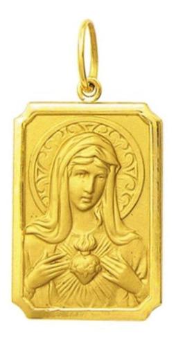 medalha 2,9cm nossa senhora aparecida ouro 18k pingente