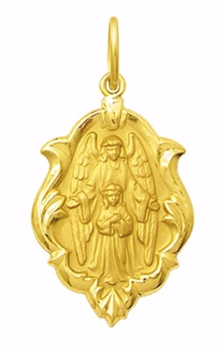 medalha 3.3 cm anjo da guarda criança ouro 18k pingente