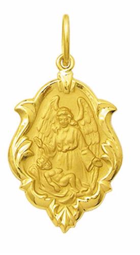 medalha 3.3 cm anjo da guarda ouro 18k pingente ornato