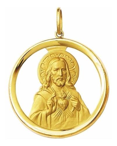 medalha 5 cm coraçao de jesus ouro 18k pingente frete gratis