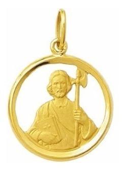medalha 5 cm sao judas tadeu ouro 18k pingente frete gratis