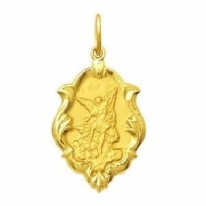 medalha anjo são miguel arcanjo ouro 18k ornato 0,80gr