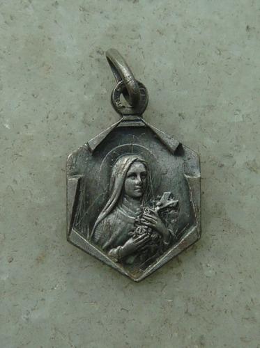medalha antiga santa thereza, prata - 16mm - flor patina