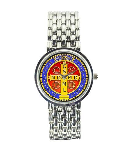 medalha de são bento relógio personali feminino cromado 3330
