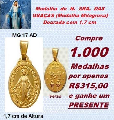 medalha n sra das graças (medalha milagrosa) - 1000 unidades