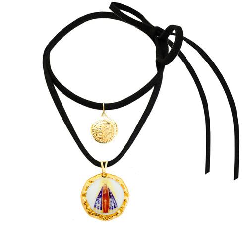 medalha nossa senhora aparecida ouro c são bento e cordão