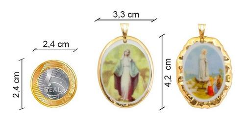 medalha nossa senhora bom parto ouro e corrente design medal