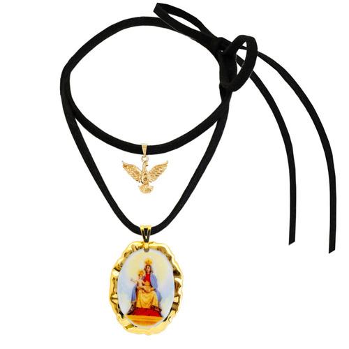 medalha nossa senhora candeias ouro espírito santo e cordão